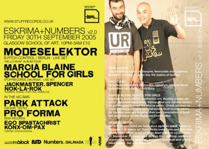 Fri 30th Sep 05: Modeselektor, Marcia Blaine School for Girls, Park Attack & Pro Forma @ Glasgow School Of Art