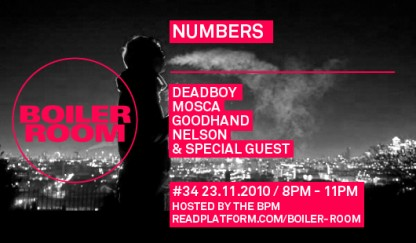 Boiler Room x Numbers Tue Nov 30th